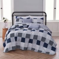Evangeline Reversible King Quilt Set in Dark Blue