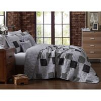Evangeline Reversible Twin Quilt Set in Grey
