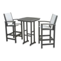 POLYWOOD® Coastal 3-Piece Outdoor Bar Set in Slate Grey/White