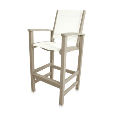 POLYWOOD® Coastal Bar Chair In Sand/White