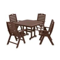 POLYWOOD® Nautical 5-Piece Outdoor Dining Set in Mahogany