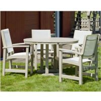 POLYWOOD® Coastal 5-Piece Outdoor Dining Set in Slate Sand/White