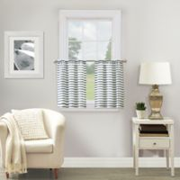 Shoreline Striped 24-Inch Window Curtain Tier Pair in Navy