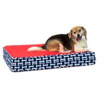 eLuxurySupply® Large Gel Memory Foam Orthopedic Dog Bed in Red/Blue