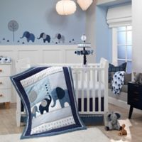 Lambs & Ivy® Indigo Elephant 4-Piece Crib Bedding Set in Blue/White