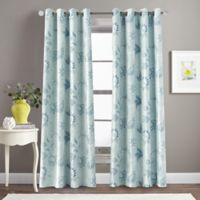 Morela Print 84-Inch Grommet Window Curtain Panel in Aqua