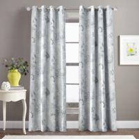 Morela Print 84-Inch Grommet Window Curtain Panel in Grey
