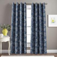 Morela Print 84-Inch Grommet Window Curtain Panel in Indigo
