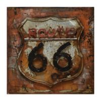 Route 66 32-Inch Square Metal Wall Art