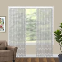 Divine 84-Inch Sheer Floral Window Curtain Panel in White