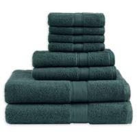 Madison Park Signature 800GSM 100% Cotton 8-Piece Towel Set in Dark Green