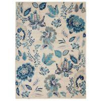 Nourison Tranquil Botanical 4' x 6' Area Rug in Ivory/Light Blue
