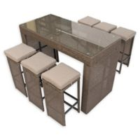 Pangea Home Oasis 7-Piece Outdoor Bar Table Set in Brown