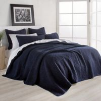 DKNY Speckled Jersey Twin Quilt in Navy