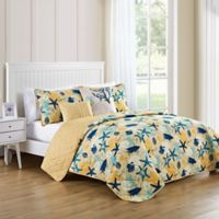VCNY Home Aquatic Reversible Twin Quilt Set in Blue