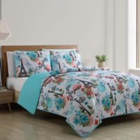 VCNY Home Eiffel Reversible King Quilt Set in Blue
