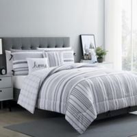 VCNY Home Farmhouse Princeton Reversible Full/Queen Comforter Set in White/Grey