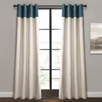 Milo Color Block 84-Inch Grommet Window Curtain Panel Pair in Slate Blue