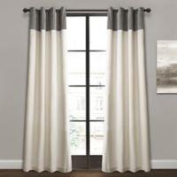 Milo Color Block 84-Inch Grommet Window Curtain Panel Pair in Grey