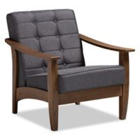 Baxton Studio Mabella Linen Lounge Chair in Walnut/Grey