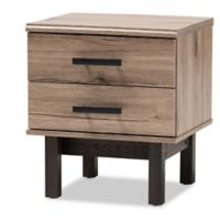 Baxton Studio Cathy 2-Drawer End Table in Oak/Black