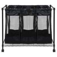 Oceanstar Triple Storage Organizer and Laundry Sorter in Black