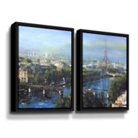 Art Wall Paris Pedestrian Bridge 2-Piece 24-Inch x 36-Inch Floater Frame Wall Art Set