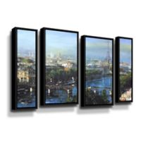 Art Wall Paris Pedestrian Bridge 4-Piece 24-Inch x 36-Inch Staggered Framed Wall Art Set