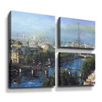 Art Wall Paris Pedestrian Bridge 3-Piece 24-Inch x 36-Inch Canvas Flag Wall Art Set