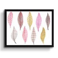 ArtWall Feathers 14-Inch x 18-Inch Floater Framed Wall Art in Pink