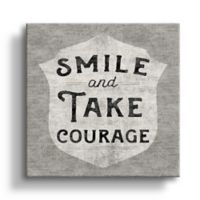 """Art Wall """"Smile and Take Courage"""" 10-Inch Square Canvas Wall Art"""