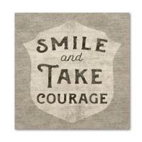 """Art Wall """"Smile and Take Courage"""" 14-Inch Square Wood Wall Art"""