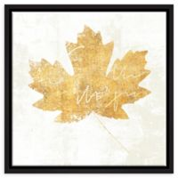 ArtWall Bronzed Leaf IV 18-Inch Square Floater Framed Wall Art in Gold