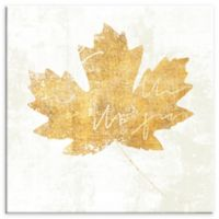 ArtWall Bronzed Leaf IV 18-Inch Square Canvas Wall Art in Gold