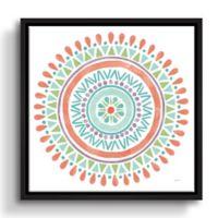 ArtWall Lovely Llamas Mandala 18-Inch Square Floater Framed Wall Art