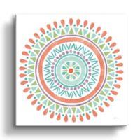 ArtWall Lovely Llamas Mandala 10-Inch Square Canvas Wall Art