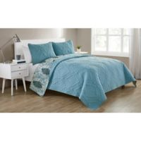 VCNY Home Lauanna Reversible King Quilt Set in Light Blue