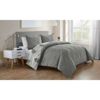 VCNY Home Lauanna Reversible Full/Queen Duvet Cover Set in Grey