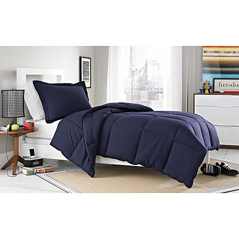 buy micro splendor twin twin xl comforter set in navy blue from bed bath beyond. Black Bedroom Furniture Sets. Home Design Ideas