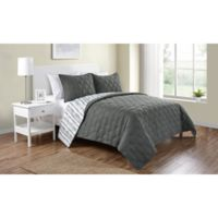 VCNY Home Quad Reversible King Quilt Set in Charcoal