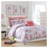 Soft Floral Reversible Twin Comforter Set in Pink/Grey