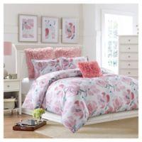 Soft Floral Reversible Full Comforter Set in Pink/Grey