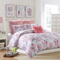 Soft Floral Reversible Twin Duvet Cover Set in Pink/Grey