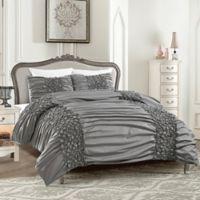 Colette King Duvet Cover Set in Grey