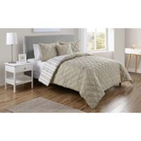 VCNY Home Quad Reversible Twin XL Comforter Set in Taupe