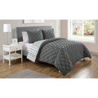 VCNY Home Quad Reversible Twin XL Comforter Set in Charcoal