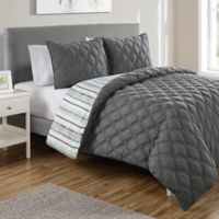 VCNY Home Quad Reversible King Duvet Cover Set in Charcoal