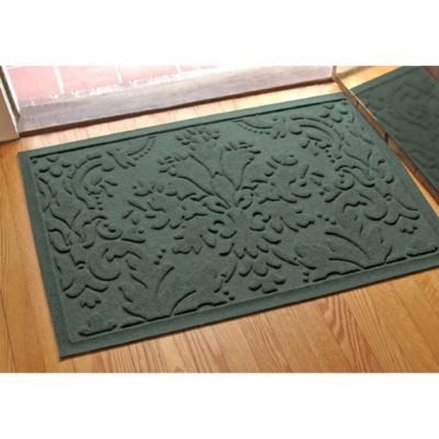 Weather Guard™ Damask 23 Inch X 35 Inch Door Mat In Evergreen