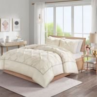 Madison Park Laurel Tufted California King Duvet Cover Set in Ivory