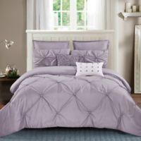 Harper Pintuck 7-Piece Queen Comforter Set in Lavender